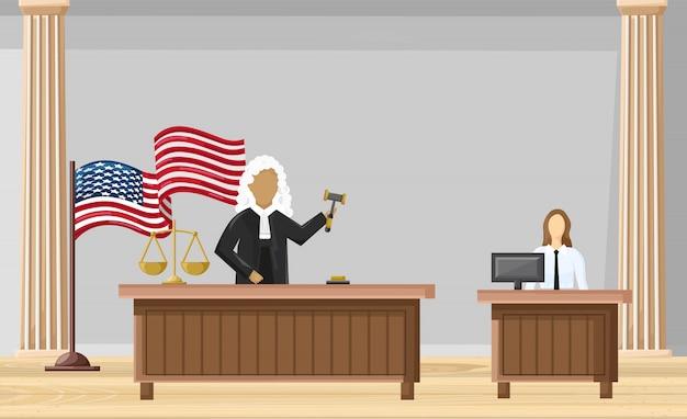 Style Plat Cour De Justice. Brochure Des Ordres De Loi Vecteur Premium