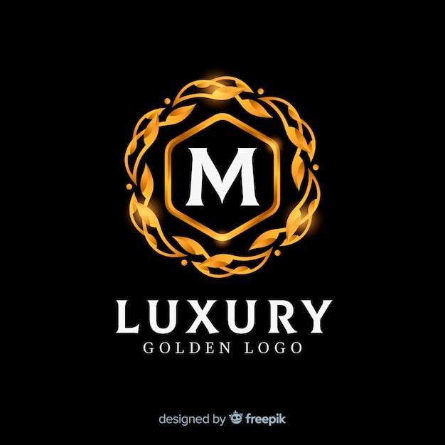 Style plat élégant logo doré Vecteur gratuit