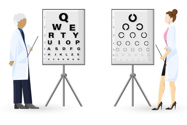Style plat d'examen d'ophtalmologie. concept de soins de santé des médecins. illustration de modèle Vecteur Premium