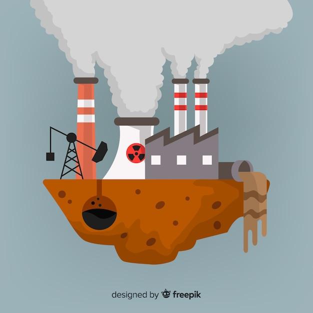 Style plat de fond de concept de pollution Vecteur gratuit