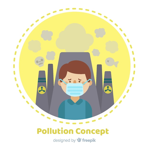 Style plat de fond de concept de pollution Vecteur gratuit