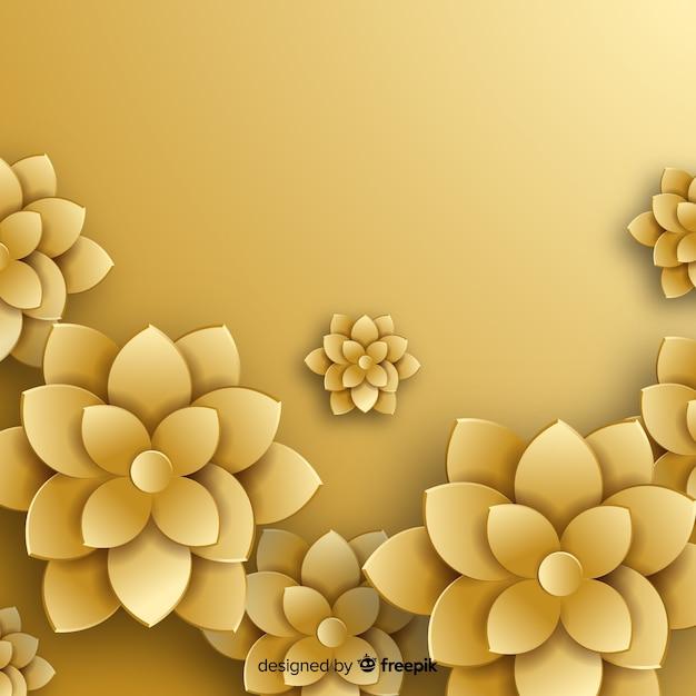 Style plat de fond de fleurs d'or Vecteur gratuit