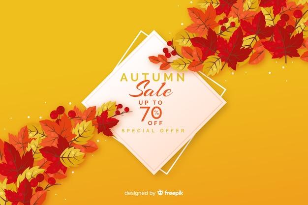 Style plat de fond de vente d'automne Vecteur gratuit