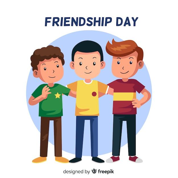 Style plat de la journée de l'amitié Vecteur gratuit