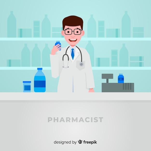 Style plat de pharmacie concept fond Vecteur gratuit