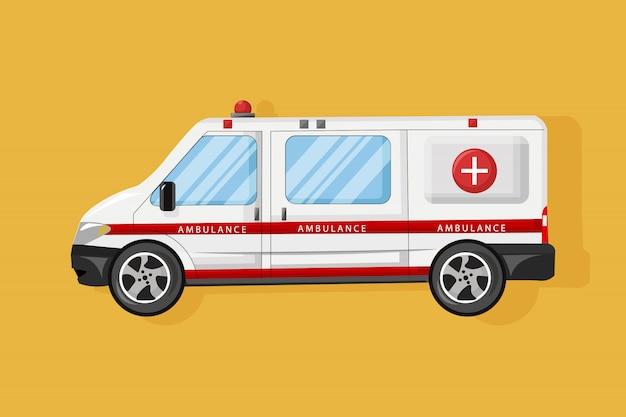 Style plat de voiture ambulance. véhicule de service médical d'urgence. transport hospitalier Vecteur Premium