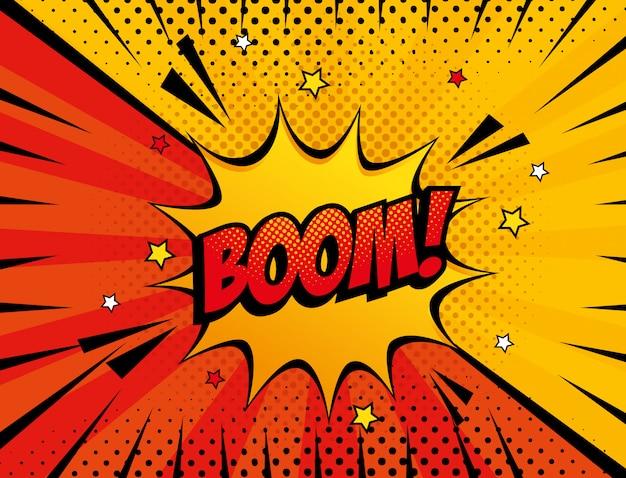 Style Pop Art Boom Explosion Vecteur Premium