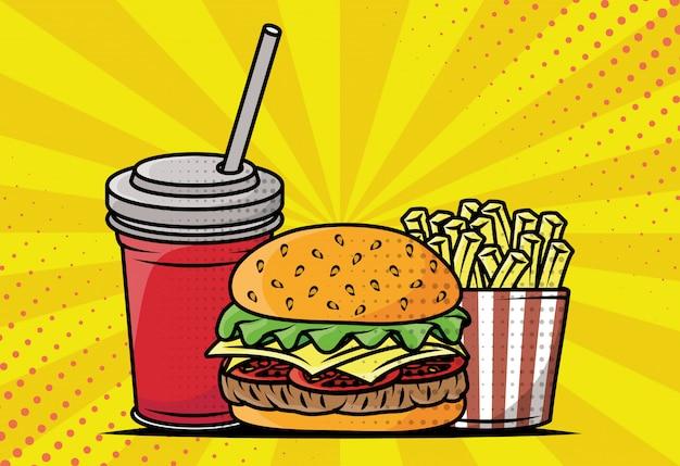 Style De Pop Art Délicieux Fast Food Vecteur gratuit