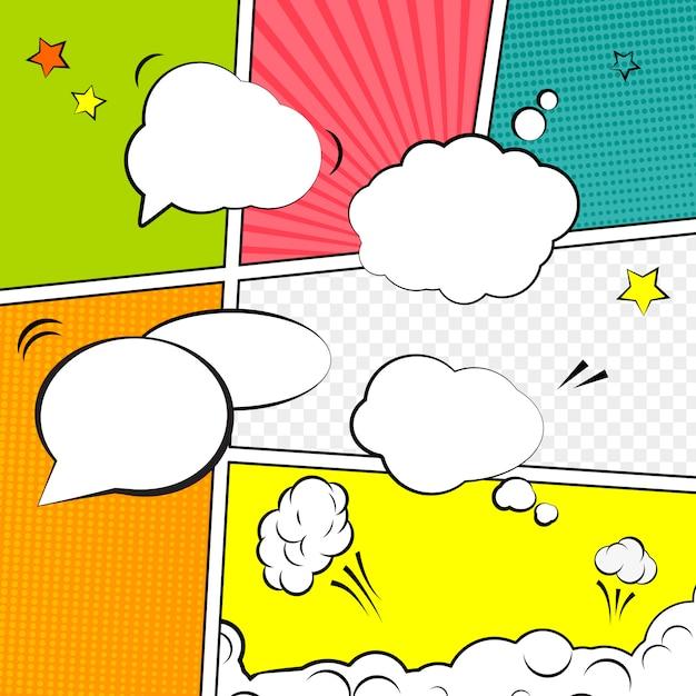 Style pop-art de modèle de mise en page vierge comique. Vecteur Premium