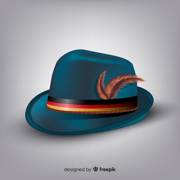 Style réaliste de fond de chapeau classique oktoberfest Vecteur gratuit