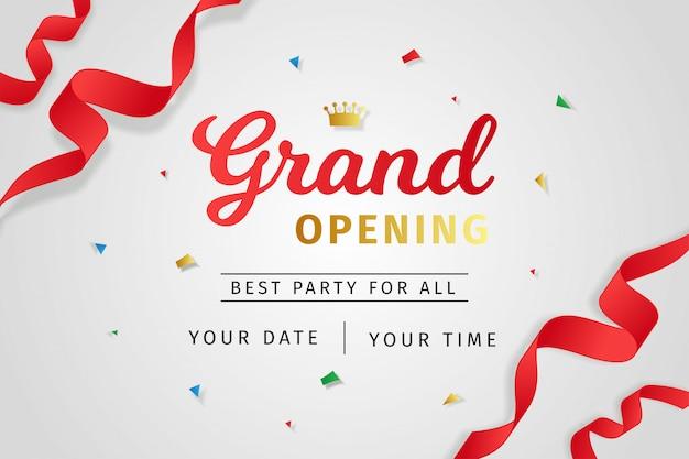 Style réaliste d'invitation d'ouverture Vecteur Premium