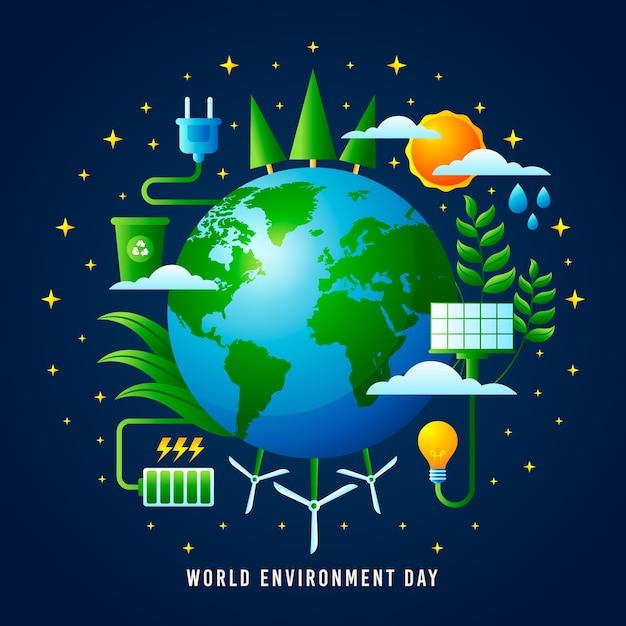 Style Réaliste De La Journée Mondiale De L'environnement Vecteur gratuit