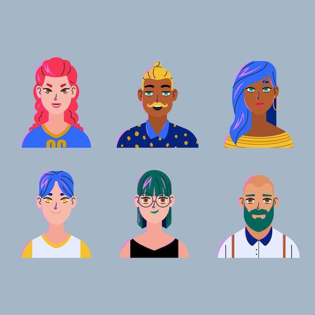 Style Réaliste Pour Les Avatars Des Gens Vecteur gratuit