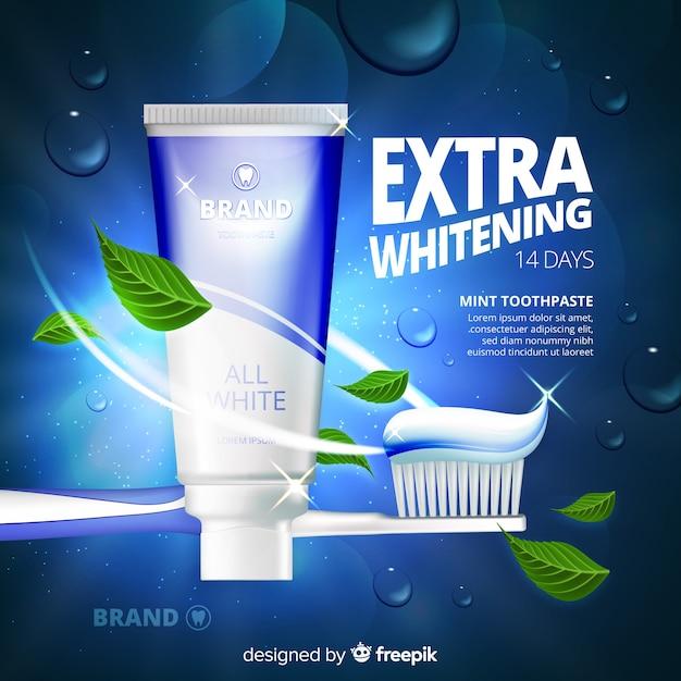 Style réaliste de publicité de dentifrice frais Vecteur gratuit