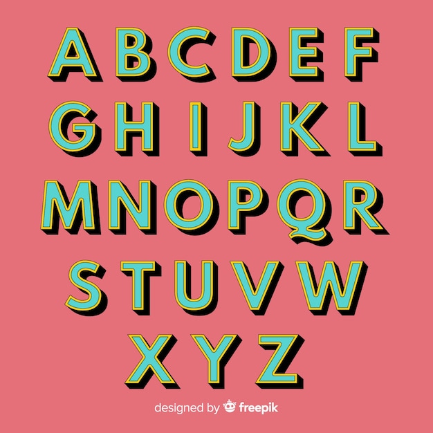 Style rétro modèle alphabet rétro Vecteur gratuit