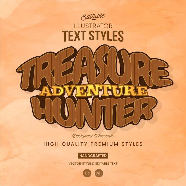 Style de texte en bois Vecteur Premium