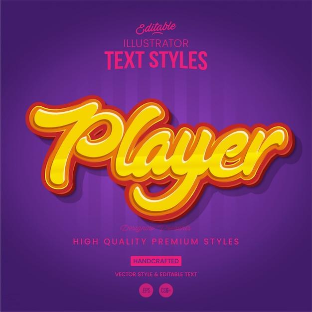 Style de texte du joueur Vecteur Premium