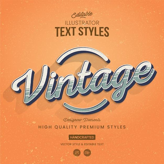 Style de texte illustrator vintage stripes Vecteur Premium