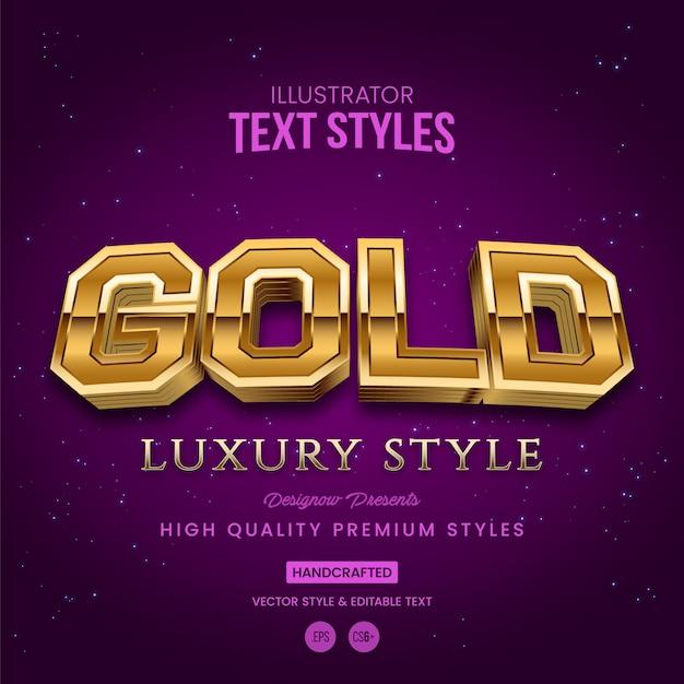 Style de texte or Vecteur Premium