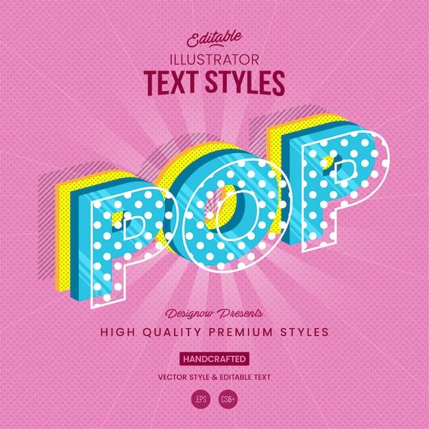Style de texte pop art Vecteur Premium