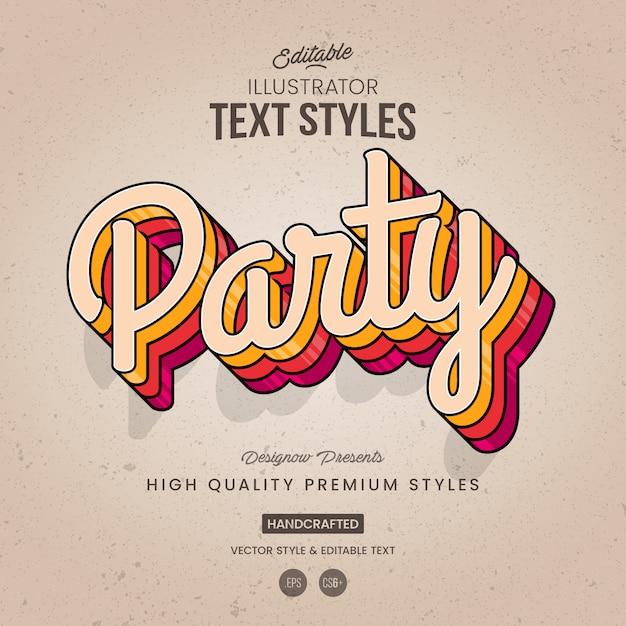 Style de texte rétro Vecteur Premium