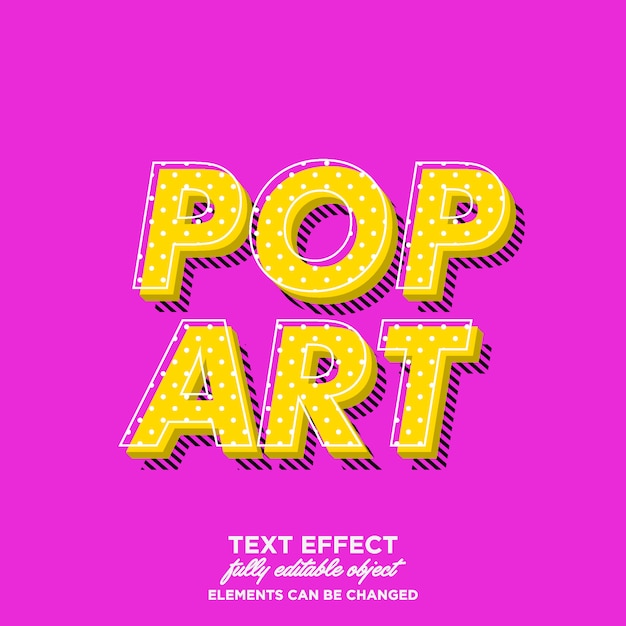 Style de texte simple pop art avec ombre de motif de ligne Vecteur Premium