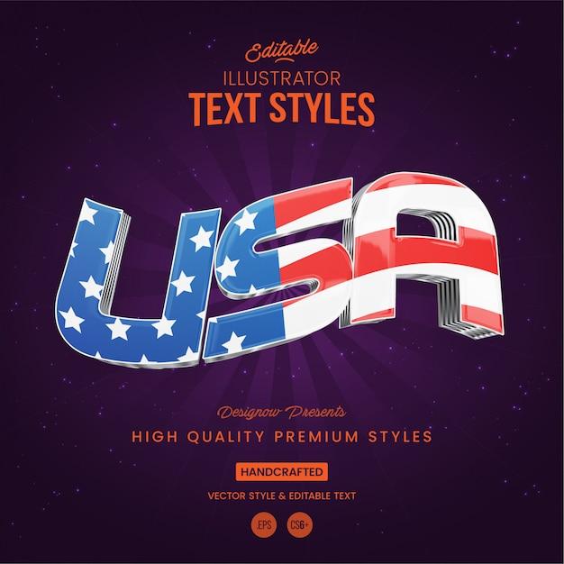 Style de texte usa Vecteur Premium