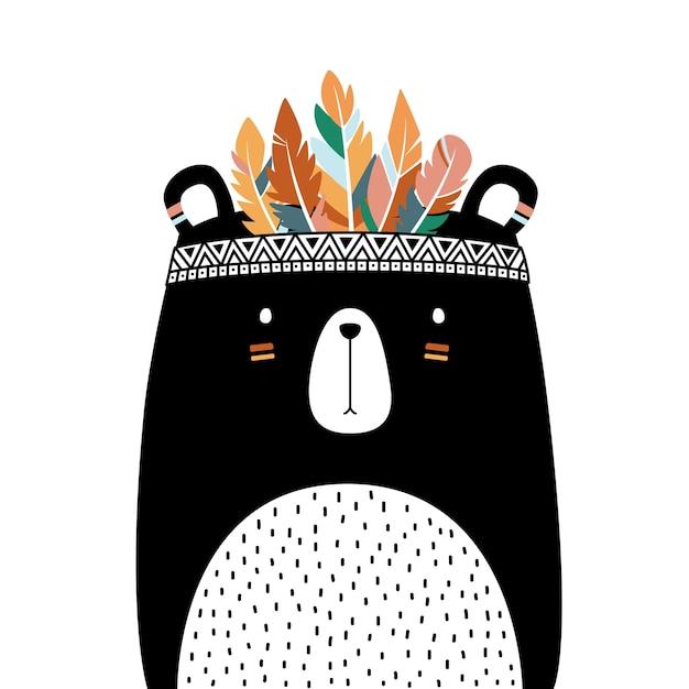 Style tribal ours mignon isolé sur fond blanc. Vecteur Premium