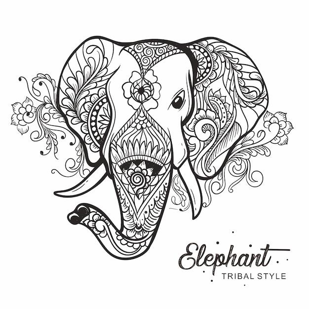 Style tribal tête d'éléphant dessiné à la main Vecteur Premium