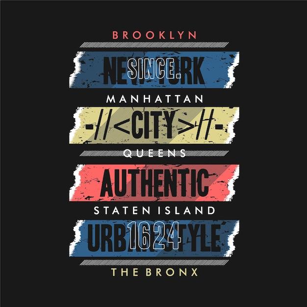 Style Urbain De La Ville De Brooklyn Vecteur Premium