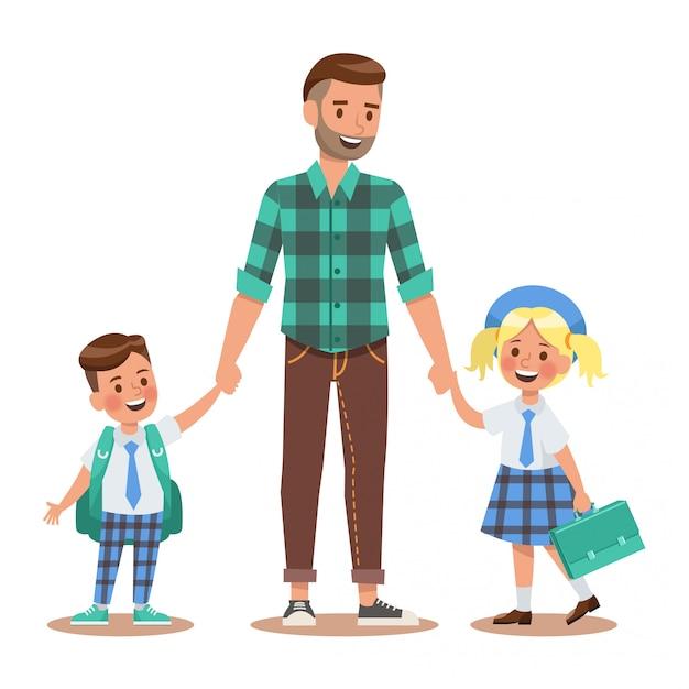Style de vie de famille Vecteur Premium