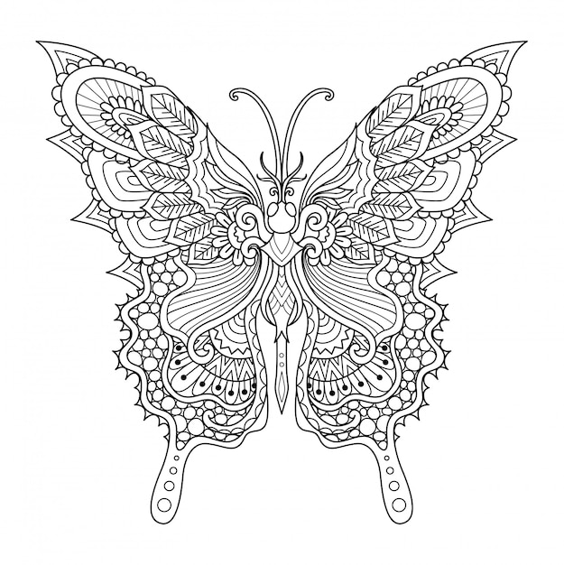 Style Zentangle Papillon, Coloriage Vecteur Premium