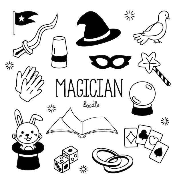 Styles De Dessin A La Main Articles De Magicien Magicien De Doodles Vecteur Premium