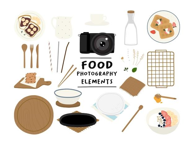 Styling Signe Des éléments Du Kit De Photographie Alimentaire Vecteur Premium