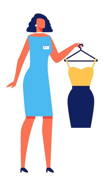 Styliste femme avec une robe sur fond blanc Vecteur Premium