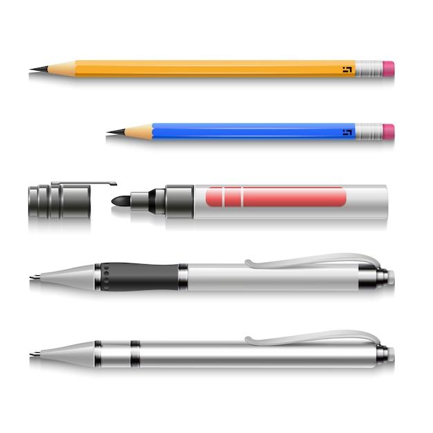 Stylos, Crayons, Marqueurs, Outils D'écriture Réalistes Vecteur Premium