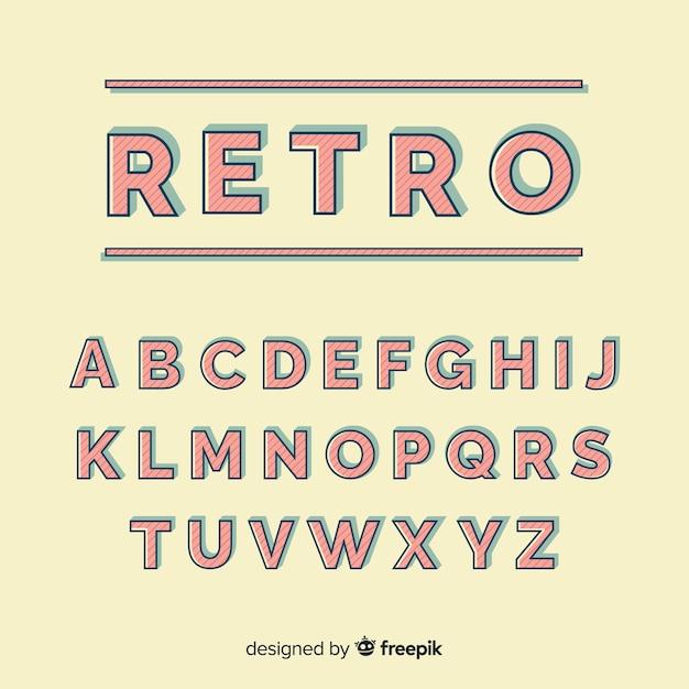 Stytle rétro modèle alphabet décoratif Vecteur gratuit