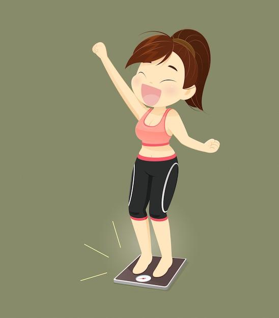 Succès féminin, perdre du poids, concept avec cartoon design, illustration vectorielle Vecteur Premium
