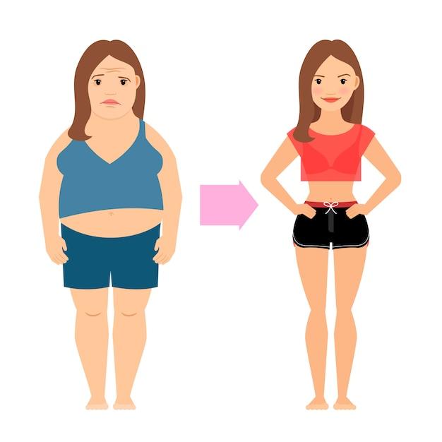 Succès de perte de poids des femmes Vecteur Premium