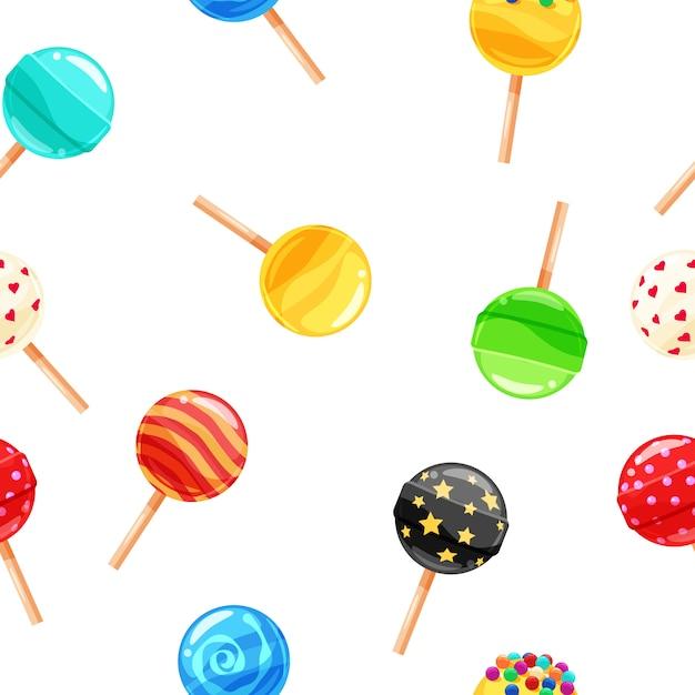 Sucette de bonbons colorés modèle sans couture, caramel sur bâton Vecteur Premium