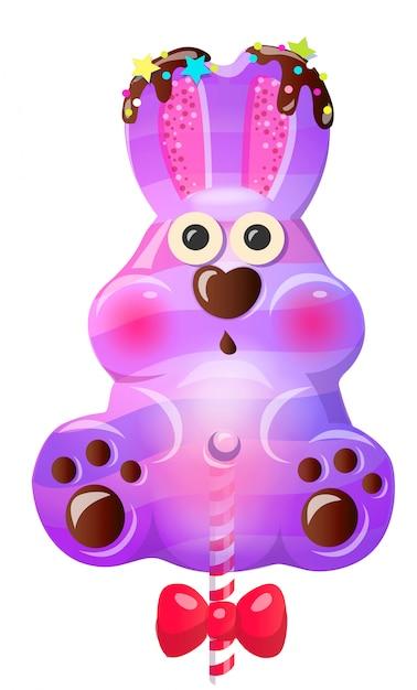 Sucette de lapin mignon dessin animé amusant avec l'arc. Vecteur Premium