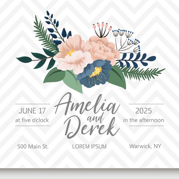 Suite de carte d'invitation de mariage avec fleur Vecteur gratuit