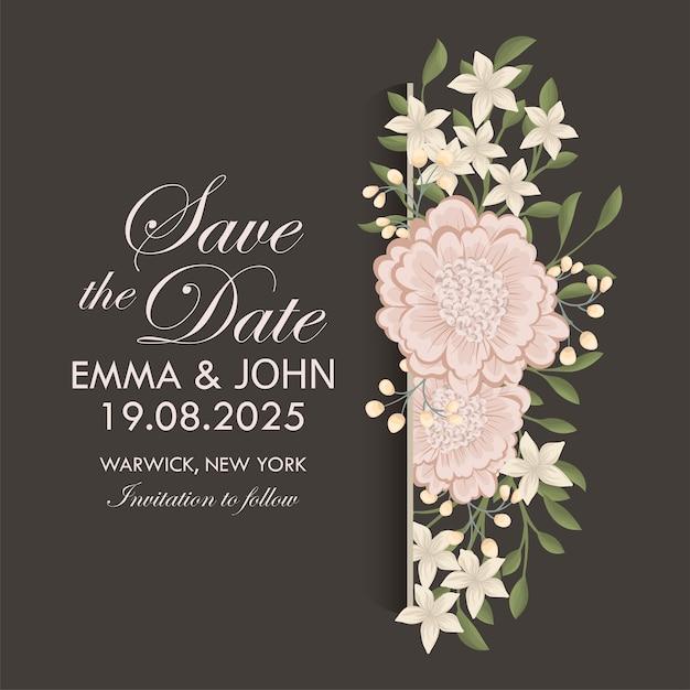 Suite De Cartes D'invitation De Mariage Avec Des Fleurs. Modèle. Illustration Vectorielle Vecteur gratuit