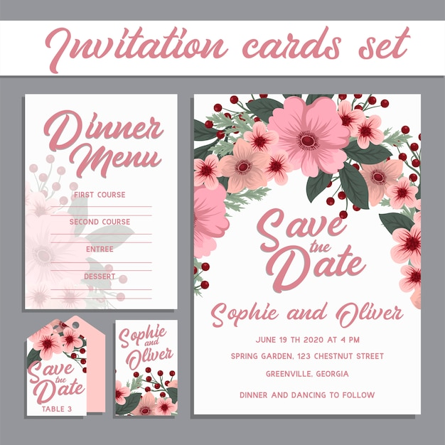 Suite de cartes d'invitation de mariage avec des fleurs. Vecteur gratuit