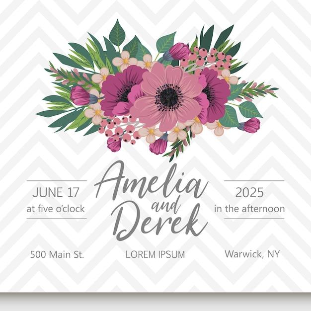 Suite de cartes d'invitation de mariage avec des fleurs Vecteur gratuit
