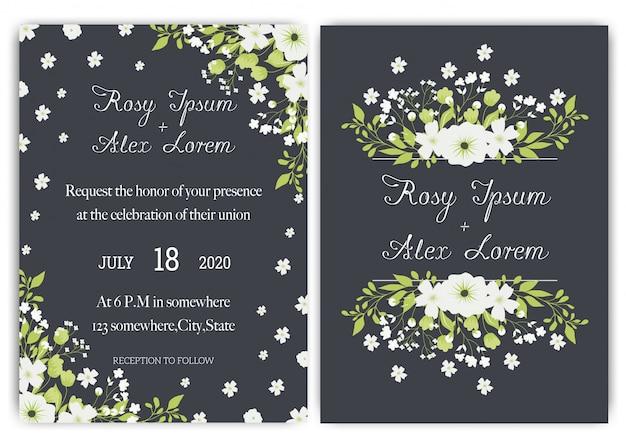 Suite de cartes d'invitation de mariage avec des modèles de fleurs de marguerite. Vecteur Premium