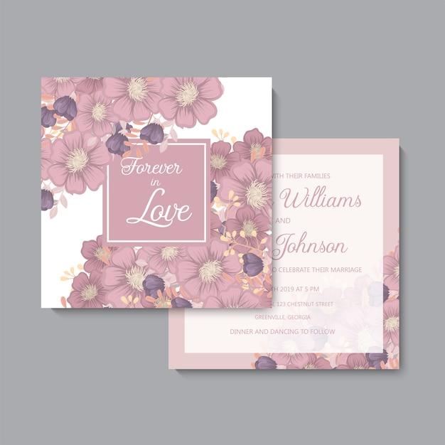 Suite de cartes d'invitation de mariage avec des modèles de fleurs. Vecteur gratuit