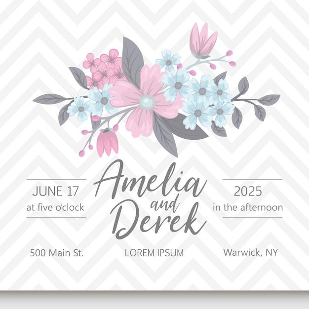 Suite de cartes d'invitation de mariage avec des modèles de fleurs. Vecteur Premium