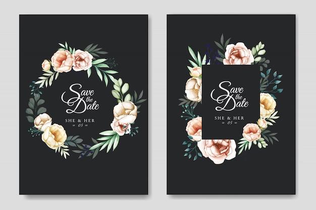Suite d'invitation de mariage avec aquarelle florale et feuilles Vecteur Premium