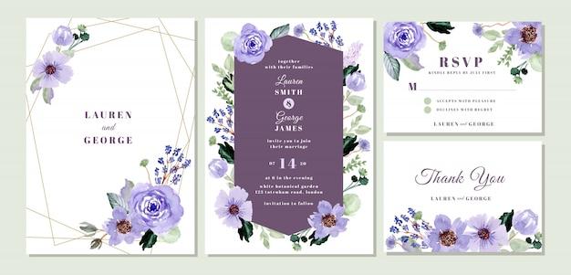 Suite d'invitation de mariage avec aquarelle florale violette Vecteur Premium